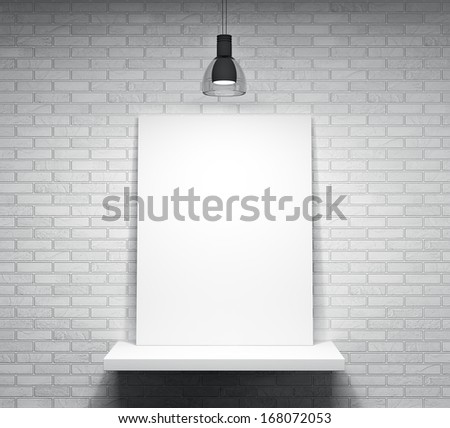 Poster on the shelf over the white brick wall - stock photo