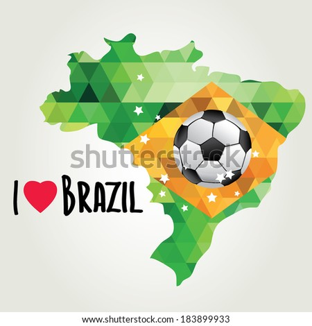 Poster soccer world game. Design concept brazil.  - stock photo