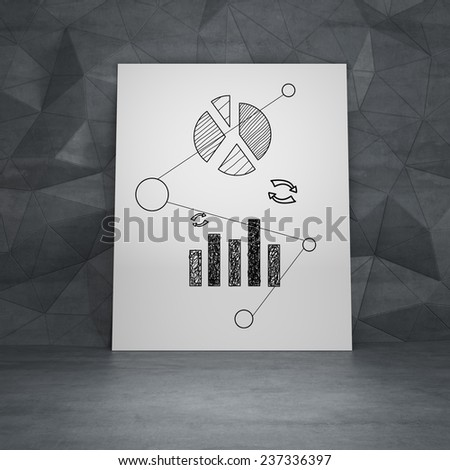 poster standing in room with drawing graph - stock photo