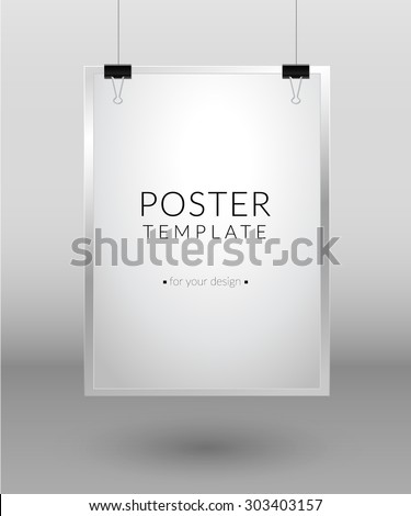 Poster template. Blank paper hanging with paper clips on light background. Raster version - stock photo
