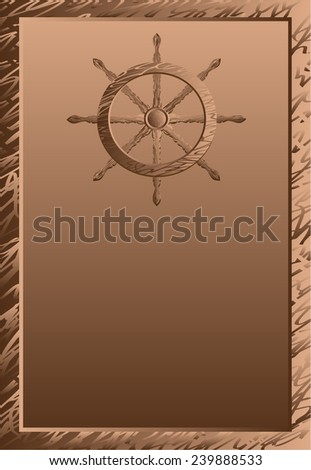 Poster with the steering wheel on a wooden background - stock photo