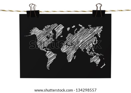 poster with world map hanging on rope - stock photo