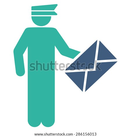 Postman icon from Business Bicolor Set. This flat glyph symbol uses cobalt and cyan colors, rounded angles, and isolated on a white background. - stock photo