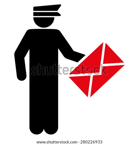 Postman icon from Business Blood Bicolor Set. This isolated flat symbol uses intensive red and black colors. - stock photo