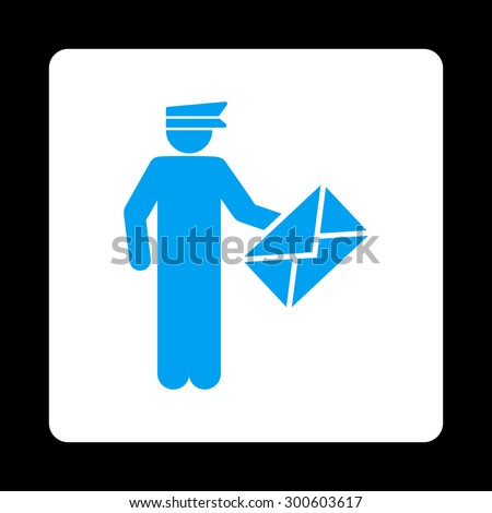 Postman icon. This flat rounded square button uses blue and white colors and isolated on a black background. - stock photo