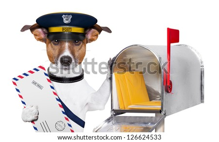 postman mail dog with a air mail letter and mail box - stock photo