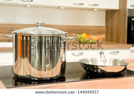 Pot and pan in the kitchen  - stock photo