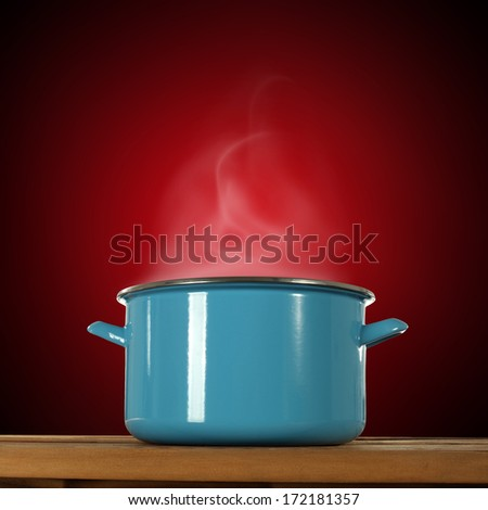 pot and red space  - stock photo