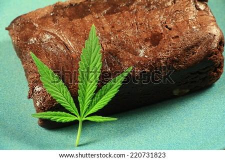 Pot Brownie 3. A marijuana leaf on a marijuana brownie on a blue plate. - stock photo