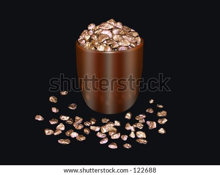 Pot full of gold nuggets. - stock photo