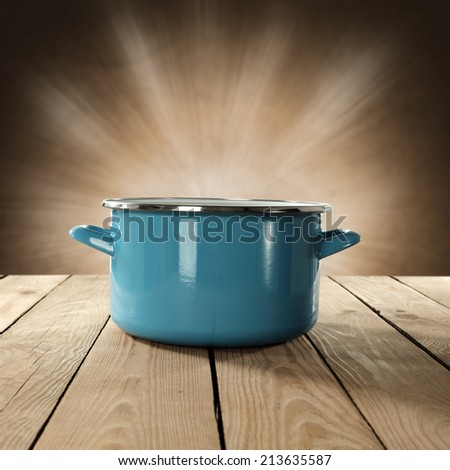 pot of blue and table  - stock photo