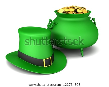 Pot of gold and leprechaun hat on a white background. - stock photo