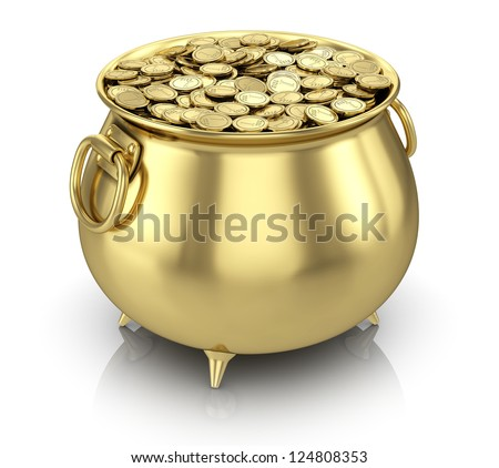 Pot of gold coins isolated on white - stock photo