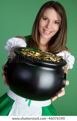 Pot of Gold Woman - stock photo