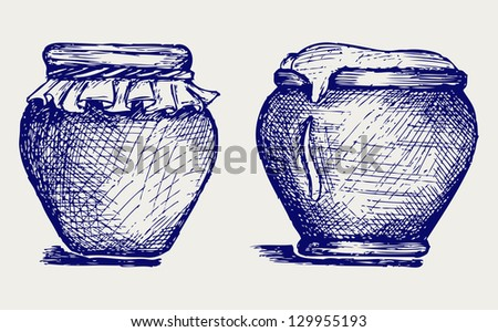 Pot of honey. Doodle style. Raster version - stock photo