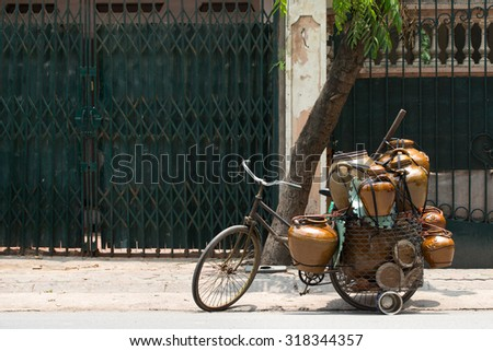 Pot/Vase Vendor, in Hanoi Vietnam - stock photo