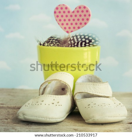 Pot with heart and baby shoes - stock photo