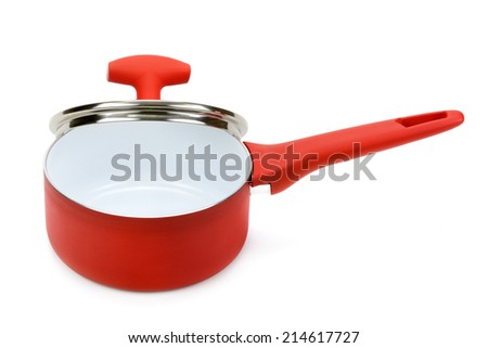 pot with lid isolated on white background - stock photo