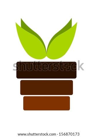 Pot with plant emblem - illustration - stock photo