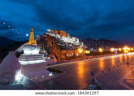 Potala Palace after sunset, Tibet - stock photo