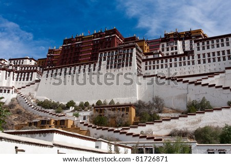 Potala palace blue sky background - stock photo