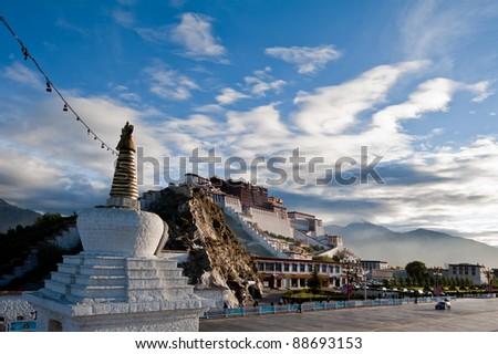 Potala palace in Tibet, China. Photo taken in the morning - stock photo