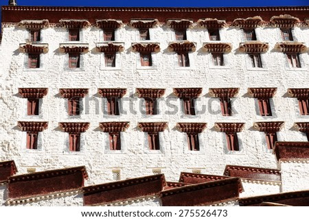 Potala palace with the Potrang Karpo and Marpo-Red and White palaces to the E.and W.at 3700 ms.high on Marpo Ri-Red Hill 300 ms.over the valley. Lhasa-Tibet. - stock photo