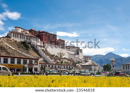 Potala palace with yellow flower in the foreground in Lhasa, Tibet - stock photo