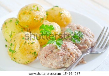 potato and cutlets - stock photo