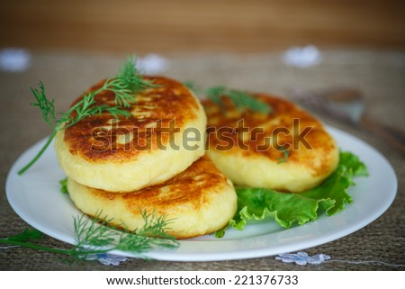 Potato cakes with meat on the plate - stock photo