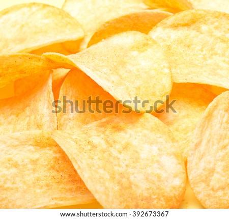potato chips background - stock photo