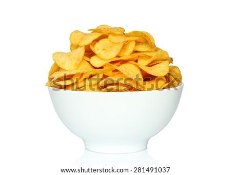 Potato chips bowl on a white background - stock photo
