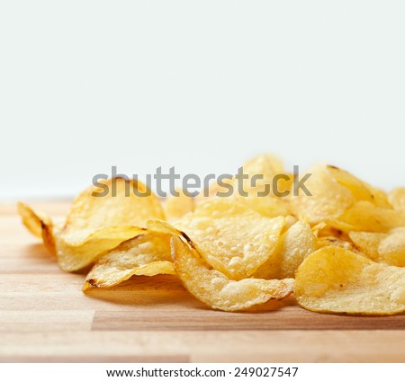 potato chips close up - stock photo