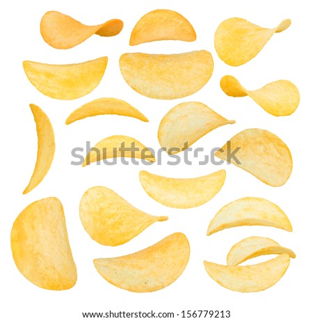 potato chips close-up isolated on a white background - stock photo