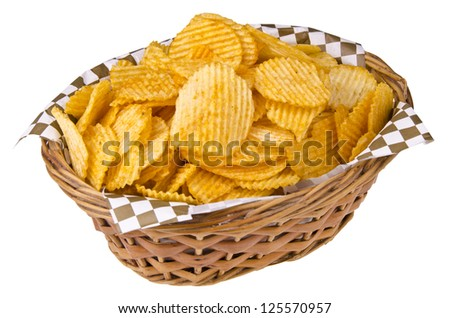 Potato chips in basket, isolated on white. Close up. - stock photo