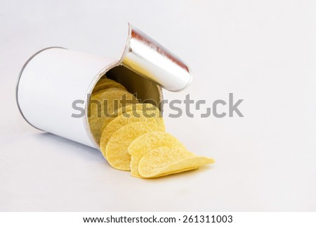 Potato chips in Box on White Background,fast food, junk, diet concept - stock photo