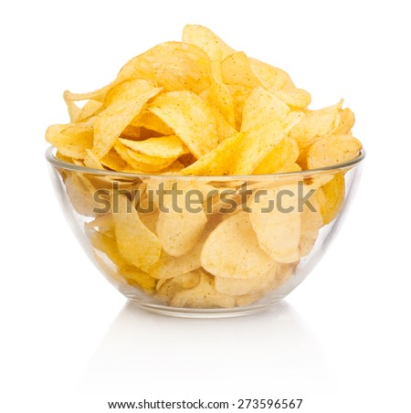 Potato chips in glass bowl isolated on white background - stock photo