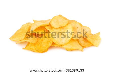 Potato chips isolated on a white background - stock photo