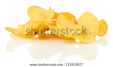 Potato chips isolated on white - stock photo