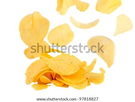 potato chips on white background - stock photo