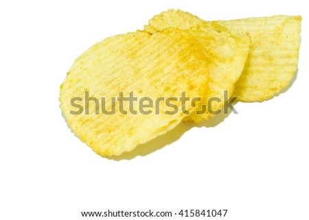 Potato chips pile on isolate white - copy space  - stock photo