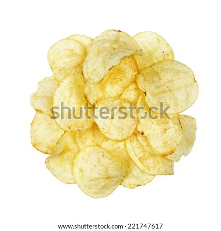 potato chips top view isolated on white background - stock photo