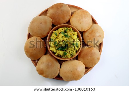 Potato  Curry with Puri - stock photo