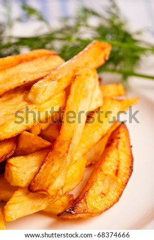 Potato fries on a plate with greenery - stock photo