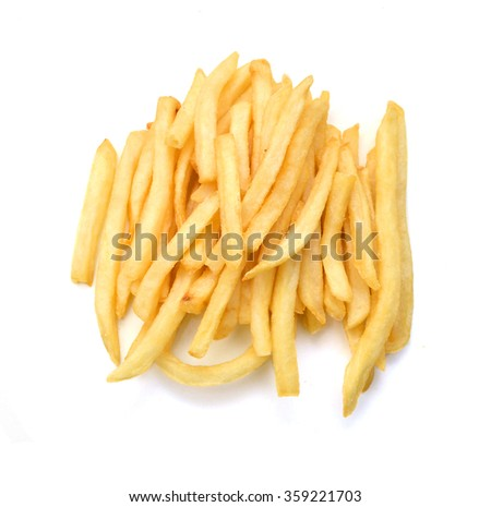 Potato fries on white background - stock photo