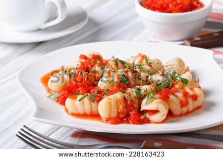 Potato gnocchi with a tomato sauce on a white plate. closeup. horizontal   - stock photo