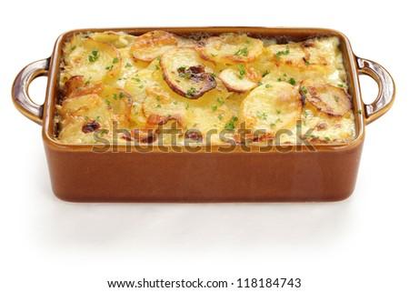potato gratin, gratin dauphinois, french cuisine - stock photo
