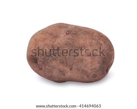 Potato isolated on white background close up with light shadow. - stock photo