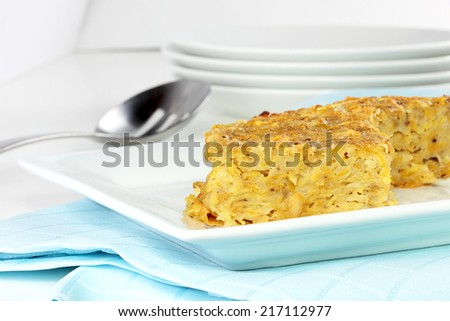 Potato kugel for Rosh Hashanah - stock photo