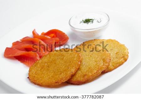 potato pancakes with salmon - stock photo